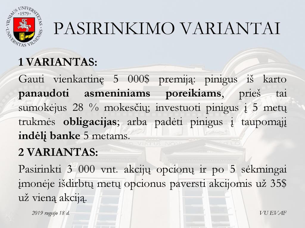 kaip išvengti akcijų pasirinkimo mokesčių